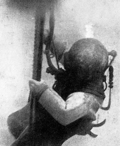 A REMARKABLE UNDER-WATER PHOTOGRAPH of an American naval diver