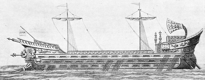 A ROMAN GALLEY of the first magnitude, having three banks of oars