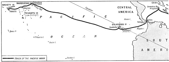 Map showing the voyage of the Pacific Moon
