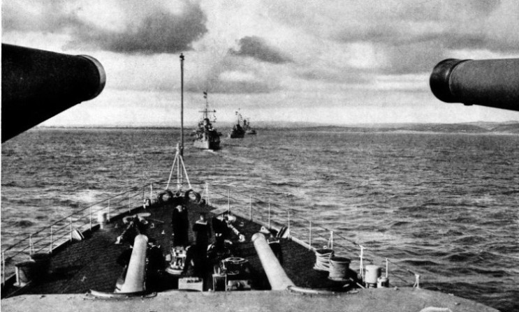 A photograph taken from HMS Neptune a cruiser of the Leander class
