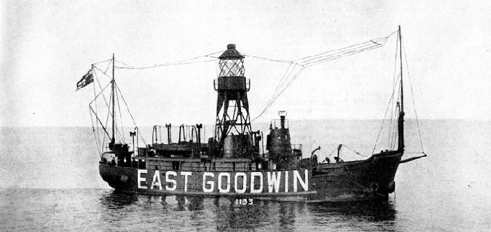 The EAST GOODWIN LIGHTSHIP is situated about one and a half miles east of the Goodwin Sands